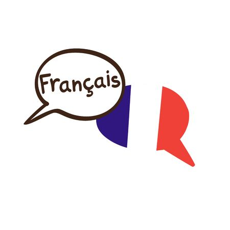 Illustration pour Vector illustration with two hand drawn doodle speech bubbles with a national flag of France and hand written name of the French language. Modern design for language. - image libre de droit