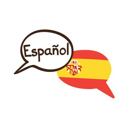 Photo pour Vector illustration with two hand drawn doodle speech bubbles with a national flag of Spain and hand written name of the Spanish language. Modern design for language. - image libre de droit