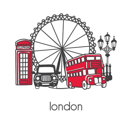 Illustration for Modern vector illustration London with hand drawn doodle English symbols: double decker bus, telephone box, street lamp, cab, big wheel. Simple design with black outline isolated on white background. - Royalty Free Image