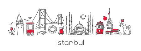 Illustration pour A Vector modern illustration Istanbul with hand drawn doodle Turkish symbols. - image libre de droit