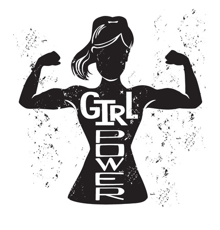 Illustration pour Girl power vector lettering illustration with black female silhouette doing bicep curl and hand written inspirational phrase and grunge texture. Motivational card, poster or print design. - image libre de droit