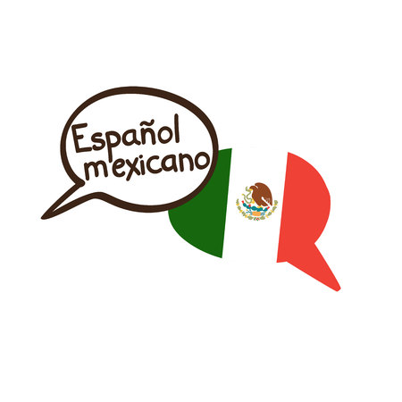 Illustration pour Mexican Spanish. Vector illustration with two hand drawn doodle speech bubbles: national flag of Mexico and hand written name of the language. Modern design for language. - image libre de droit