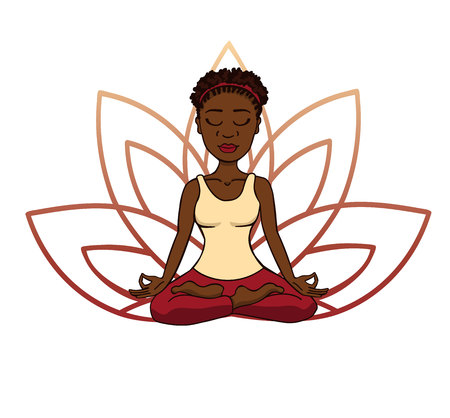 Illustration pour Vector doodle illustration of young cute african girl meditating in lotus pose with flower petals behind. Cartoon character for yoga and meditation practice isolated on white. - image libre de droit
