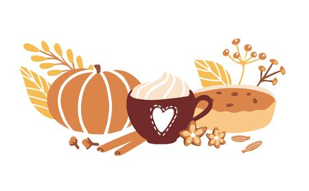 Illustration for Cute vector illustration Fall season with doodle objects on white background. Cup with hot beverage, whipped cream, spices, leaves, pumpkin and home made pie. Horizontal card, banner, poster design. - Royalty Free Image