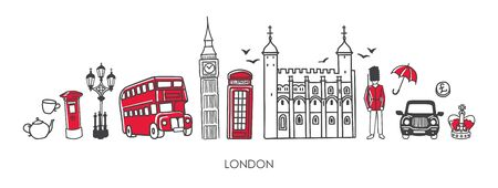 Illustration pour Vector modern illustration symbols of London, the UK. Famous British attractions in simple minimalistic style with black outline and red elements. Horizontal skyline banner or souvenir print design. - image libre de droit