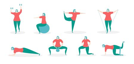 Ilustración de Woman exercising with fitness equipment. Girl in the different training positions. Working out with various accessories. Young woman doing sports at home. Set of different exercises. - Imagen libre de derechos
