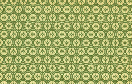 Used floral vintage wallpaper in green and yellow - natural grainy surface - XXL size