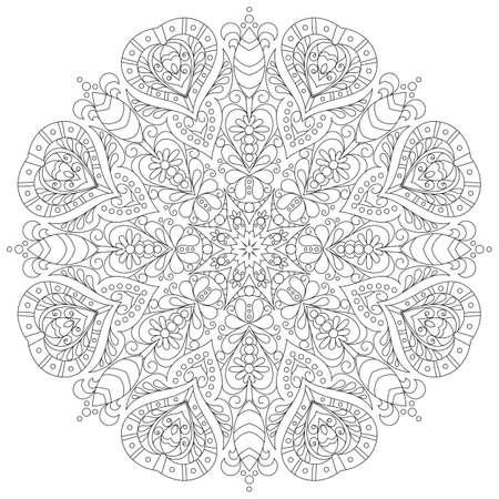 Ilustración de monochrome mandala for coloring book - Imagen libre de derechos