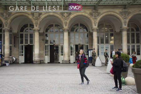 French people and foreigner travelers walking in and out at Gare de Paris-Est or Paris Gare de l'est railway station of Paris Metro on September 5, 2017 in Paris, France