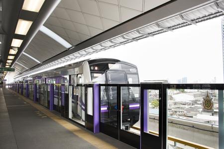 MRT Purple Line skytrain go to Bangkok at Bang Yai station on August 19, 2017 in Nonthaburi, Thailand