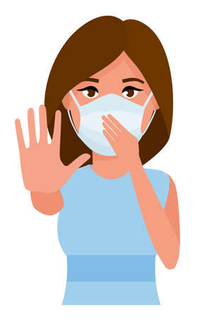 Illustration for Woman showing gesture stop. Young woman with medicine health care mask against white room background. Cartoon vector illustration. - Royalty Free Image