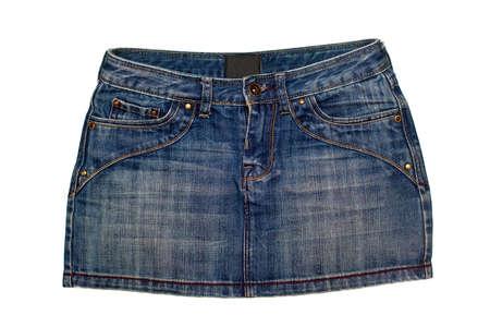 blue denim short skirt isolated on white background