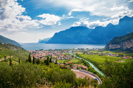 Photo pour beautiful view of the town Nago Torbole and Sarca river, lake Garda, Trentino, Italy - image libre de droit