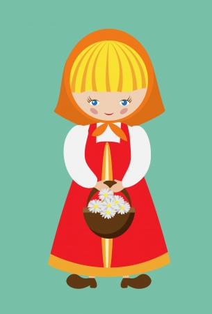 Vector illustration of russian girl dressed in sarafan with a basket of daisies