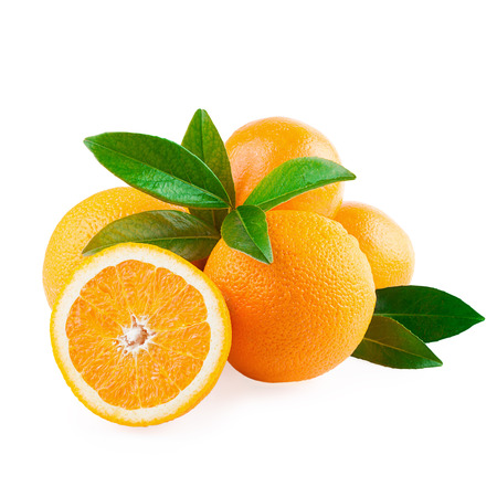 Photo pour Oranges Fruits and Half of Fruit isolated on white - image libre de droit