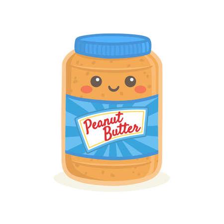 Illustration pour Cute Peanut Butter Bottle Jar Vector Illustration Cartoon Smile - image libre de droit