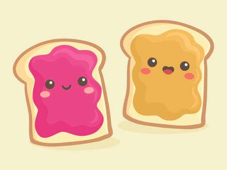 Illustration pour Cute Peanut Butter and Jelly Jam Loaf Bread Sandwich Vector Illustration Cartoon Smile - image libre de droit