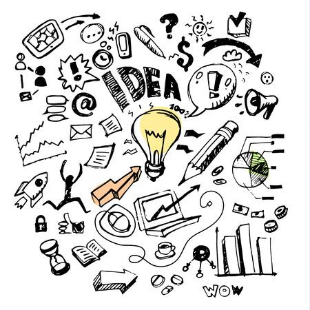 Ilustración de Business doodles. Concept of idea. Vector illustration - Imagen libre de derechos
