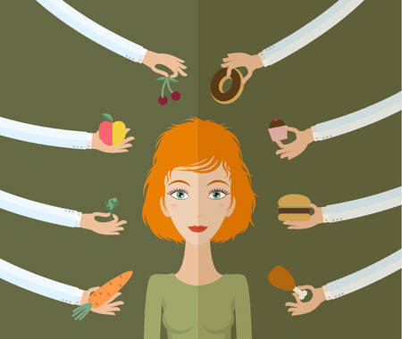 Illustration for A few hands offers women a healthy and junk food. Flat style, vector illustration - Royalty Free Image