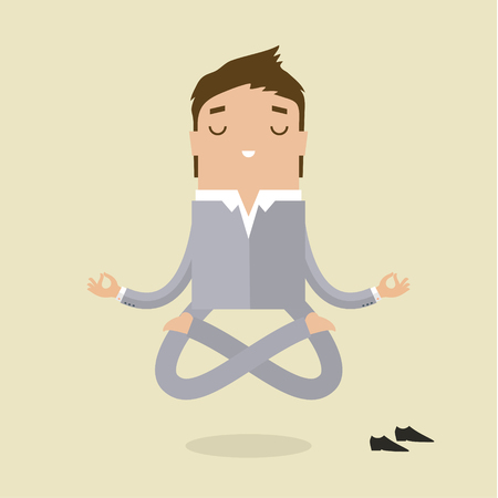 Cartoon business man is doing yoga and meditation. Concept of peace in mind. Flat design