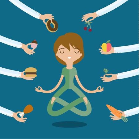 Illustration pour A few hands offers women a healthy and junk food. Flat style, vector illustration - image libre de droit