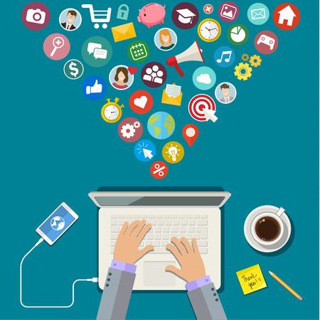 Illustration pour Digital Marketing concept. Flat design, vector illustration - image libre de droit