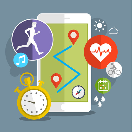 Illustration for Smart phone with sport icons. Fitness app concept on touchscreen. Flat design vector illustration - Royalty Free Image