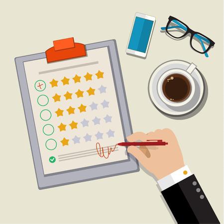 Illustration pour Customer feedback concept. Hand checking excellent mark in a survey. Flat design vector illustration - image libre de droit