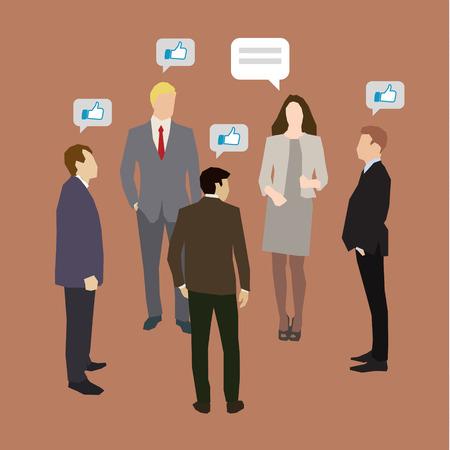 Illustration pour Concept of business social networking and communication. Flat design, vector illustration - image libre de droit