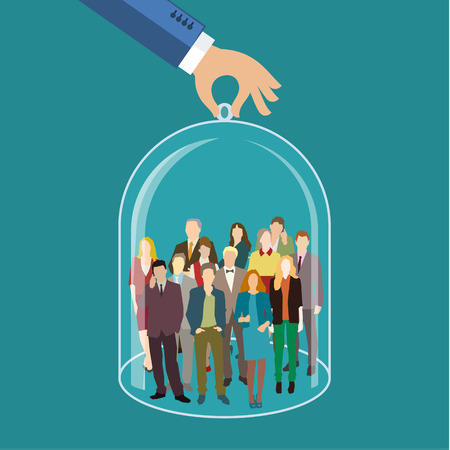 Illustration pour Customer care, care for employees, human resources, life insurance, sales force and marketing segmentation concepts. Businessman or personnel and icons representing group of people. Flat design, vector illustration - image libre de droit