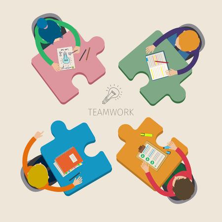 Illustration pour Concept of creative teamwork. Business meeting and brainstorming. Flat design, vector illustration - image libre de droit