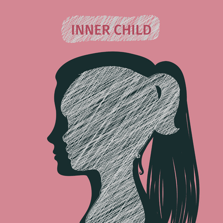 Illustration for Concept of inner child. Silhouette of a woman showing his inner child living in his mind. Flat design, vector illustration. - Royalty Free Image