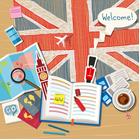 Illustration pour Concept of travel or studying English. Open book with English symbols. Flat design, vector illustration - image libre de droit