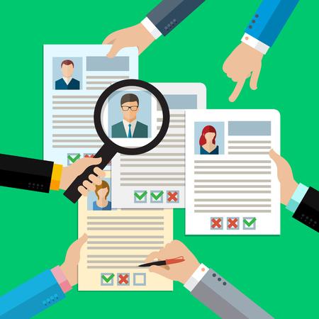 Illustration pour Concept of searching professional staff, analyzing personnel resume, recruitment, human resources management, work of hr. Flat design, vector illustration. - image libre de droit