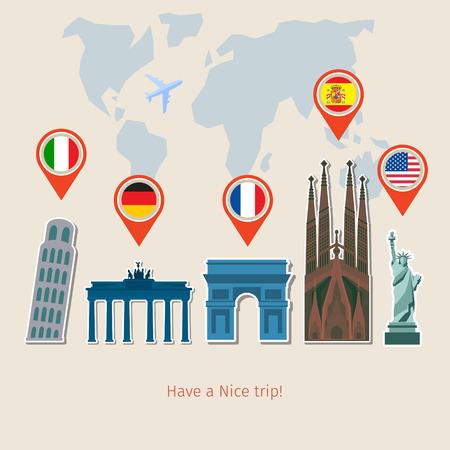 Illustration pour Concept of planning vacation. Colorful travel vector flat banner for your business, websites etc. - image libre de droit