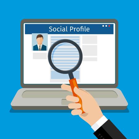 Illustration pour Search Social Profile. Laptop with social network. Flat design, vector illustration. - image libre de droit