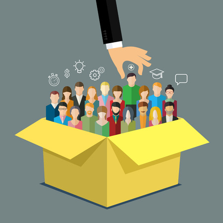Ilustración de Businessman hand pointing at man in box with people. Business concept of personnel selection, hiring or recruitment. Flat design vector illustration. - Imagen libre de derechos