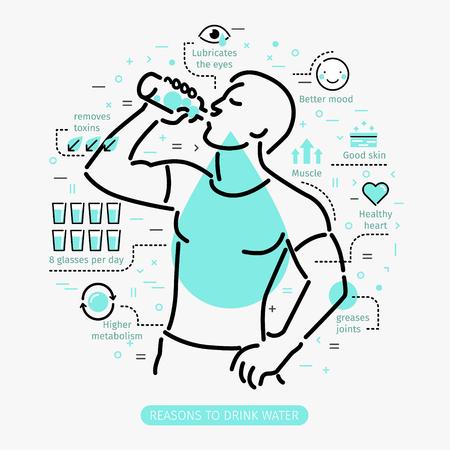 Vektor für Concept of The Benefits of Drinking Water. Man drinking water. - Lizenzfreies Bild