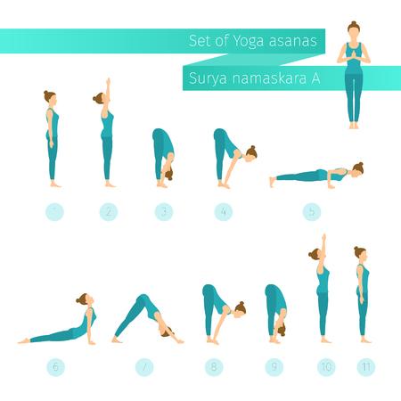 vector yoga set in flat style surya namaskar a sun