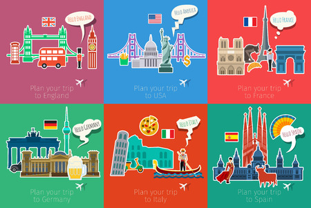 Ilustración de Concept of travel or studying languages. - Imagen libre de derechos