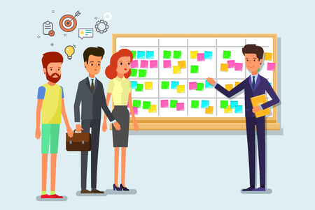 Illustration pour Scrum task board whith sticky note cards. - image libre de droit
