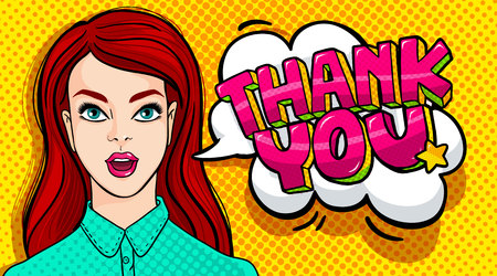 Thank you Message and beautiful young woman with open mouth in retro pop art style. Vector illustration.