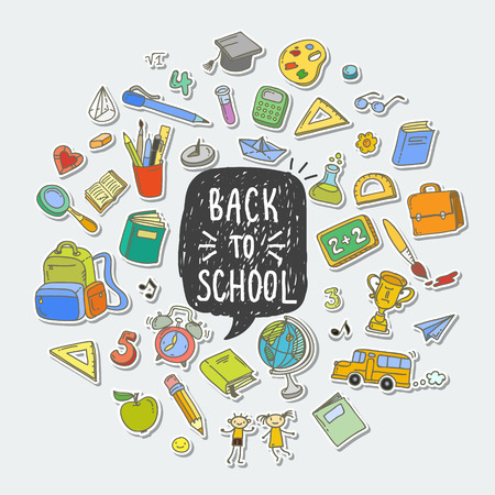 Illustration pour Concept of education. Back to school background. Freehand drawing color school items. - image libre de droit