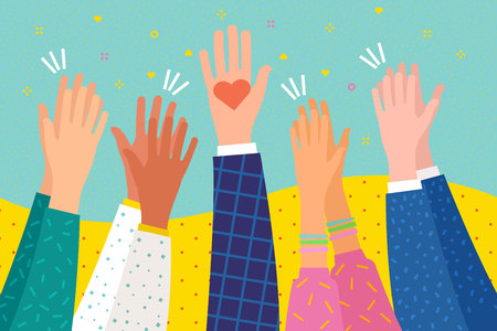 Ilustración de Concept of charity. People applaud. Human hands clapping ovation. Hand holding a heart. Flat design, business concept, vector illustration - Imagen libre de derechos