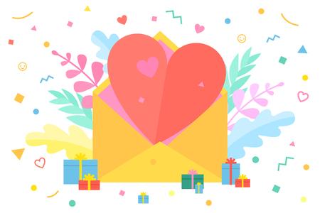Illustration pour Concept of Love. Message with a heart. Happy Valentine s day. - image libre de droit