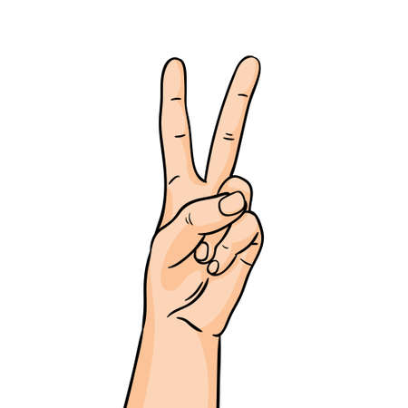 Illustration pour The gesture of victory in line art. Hand showing forefinger and middle finger up on white background. - image libre de droit