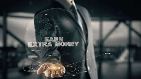 Earn Extra Money with hologram businessman concept