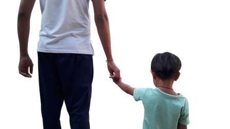 Photo pour Father holding hand of her daughter isolated image in white background / father's day - image libre de droit
