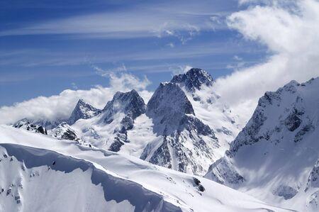 Caucasus Mountains. Dombai. View from the top of Musa Achitara.