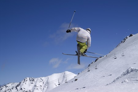 Freestyle skiing. Ski resort Dombay. Caucasus Mountains.